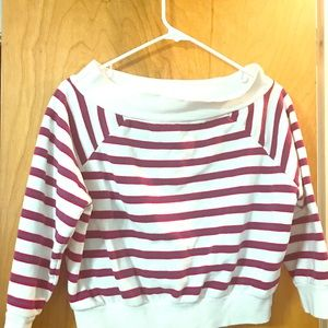 Striped long sleeve crop top